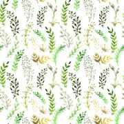 seamless pattern with silhouettes of flowers and grass, drawing by watercolor - stock illustration