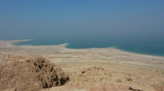 Aerial landscape view of the Dead Sea Israel Stock Footage