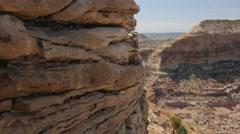 Jib shot of huge desert canyon in Utah Stock Footage