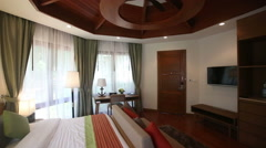 panorama of double bed hotel room - stock footage