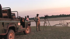 Tourists Ride in a Safari Truck at the South Luangwa National Park Stock Footage