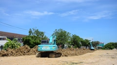BackHoe Excavator Machine working at construction Site Stock Footage