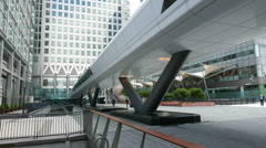Modern Crossrail Place at Canary Wharf - no property release Stock Footage