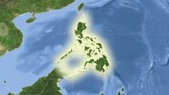 Philippines on maps - outlined and glowed. Neighbourhood. Set of animations. - stock footage