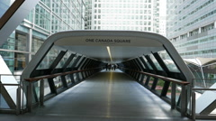 Futuristic gateway to One Canada Square - no property release - stock footage