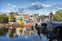 City of Amsterdam by the Amstel River Stock Photos