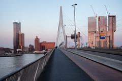 Rotterdam Downtown Skyline at Sunset - stock photo