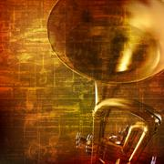 Abstract grunge background with trumpet Piirros