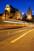 Night Traffic on the Solidarity Avenue in Warsaw - stock photo