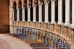Plaza de Espana Colonnade and Benches in Seville - stock photo