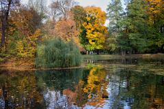 Lake and Autumn Foliage in Lazienki Park Stock Photos