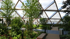 Sky Garden at New Crossrail Place building - no property release Stock Footage