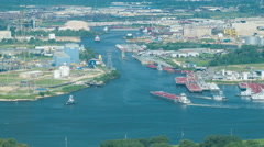 Stock Video Footage of Houston Ship Channel Action High Angle View from San Jacinto