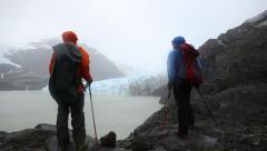 Adventure revealing glacier ice Stock Footage