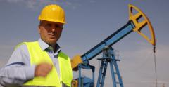Oil Industry Engineer Looking Extracting Platform Ok Hand Sign Approve Activity Stock Footage