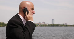 Office Break Time Park Walking Corporate Manager Cellphone Talking Business Deal Stock Footage