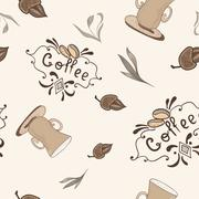 Vector Coffe Pattern in Sketch Style Stock Illustration