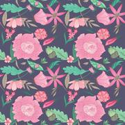 Summer Floral Pattern on Indigo Background Stock Illustration