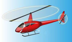 Red helicopter - stock illustration