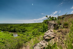 Time Lapse 4K. Rossiya. Rostov region, with a view of the rocks on the river. Stock Footage
