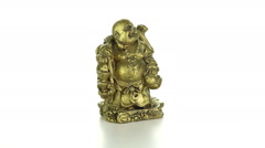 Bronze Hotei on a white background Stock Footage
