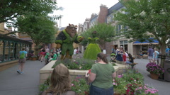The Beauty and the Beast topiaries at Disney World, Orlando - stock footage