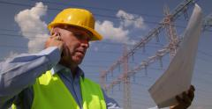 Energetic Industry Project Engineer Verify Electric Network Reliability Plans Stock Footage