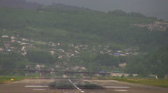 Plane landing at the airport Stock Footage