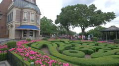 Garden in the France Pavilion at Walt Disney World, Orlando Stock Footage
