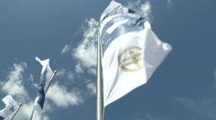 Perini Navi Cup flags wave in Porto Cervo Stock Footage