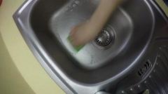 Hand with sponge wash sink. 4K Stock Footage
