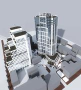 Two high-rise modern buildings - stock illustration