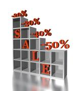 3d red text SALE 20, 30, 40, 50 % Stock Illustration