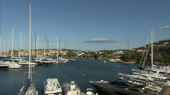 Panoramic view of the marina in Porto Cervo Stock Footage