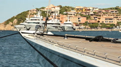 Boats docked in Porto Cervo Stock Footage