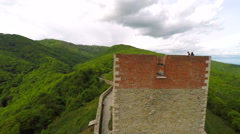 Closeup view of fort Medvedgrad walls, with forest around it. Stock Footage