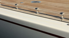 Detail of main deck of wooden sailing boat Stock Footage