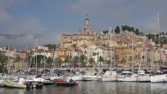 Zoom out from Menton historic buildings, France Stock Footage