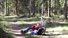 Cyclist to have a rest, picnic Stock Footage