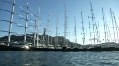 Sailing boats docked in Porto Cervo during Perini Navi Cup Stock Footage