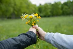 bouquet of wildflowers in his hands - stock photo