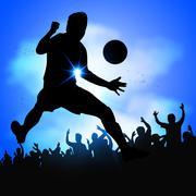 Soccer player celebrates goal Stock Illustration
