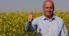 Farmer Businessman Satisfied Good Rapeseed Harvest Presentation Thumbs Up Sign Stock Footage