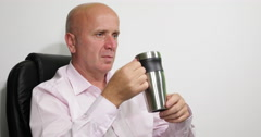 Office Room Employee Relaxing Break Drink Energizing Cup Black Roasted Coffee Stock Footage