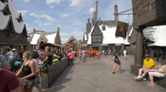Group of children visiting Harry Potter's World at Universal Studios, Orlando Stock Footage