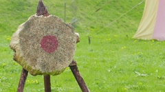 Medieval weapon - training in throw to the disc. Slow motion Stock Footage