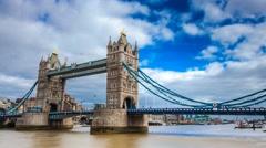 London Brigde at daylight, drawbridge raising, time lapse 4k - stock footage