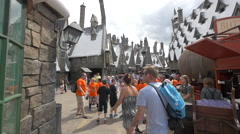 Group of students visiting Harry Potter's World at Universal Studios, Orlando Stock Footage