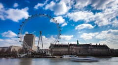 London Eye London at daylight, boats embarking and disembarking, timelapse 4k Stock Footage