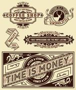 Set of retro labels. Vector - stock illustration